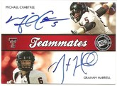 2009 Press Pass SE Dual Teammates Autograph card of Michael Crabtree & Graham Harrell #7/25 Front
